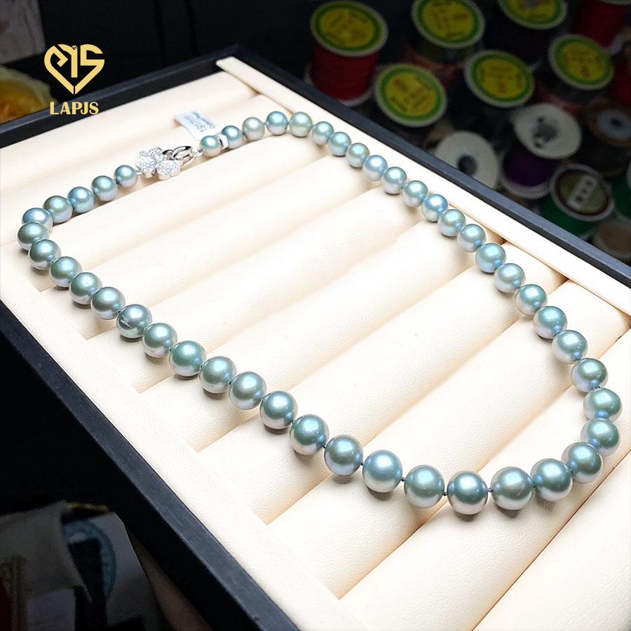 Vòng cổ Ngọc trai xám xanh phối khóa bạc cao cấp LNL-2905