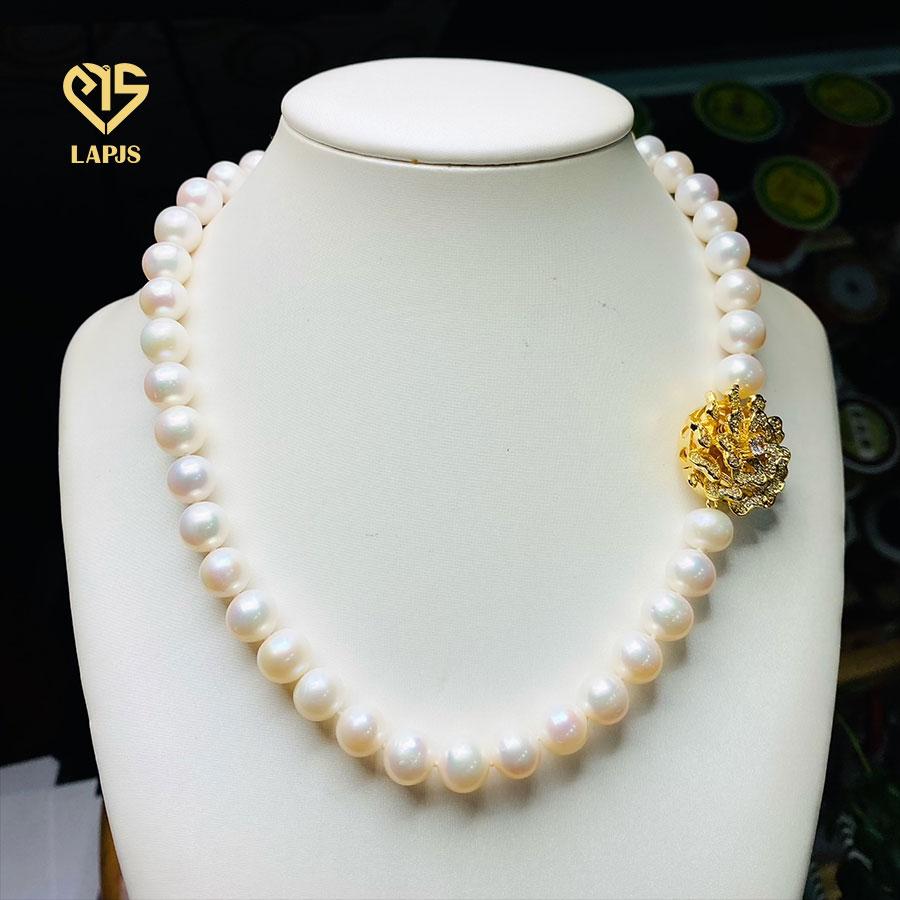 Vòng cổ Ngọc trai phối khóa đính đá LNL-8372