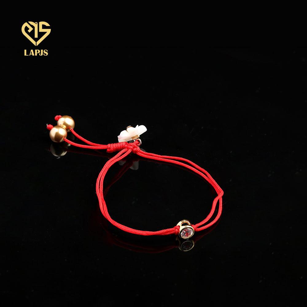 Vòng chỉ đỏ Charm Tròn Đá Zircon Vàng 14k HBL-0107