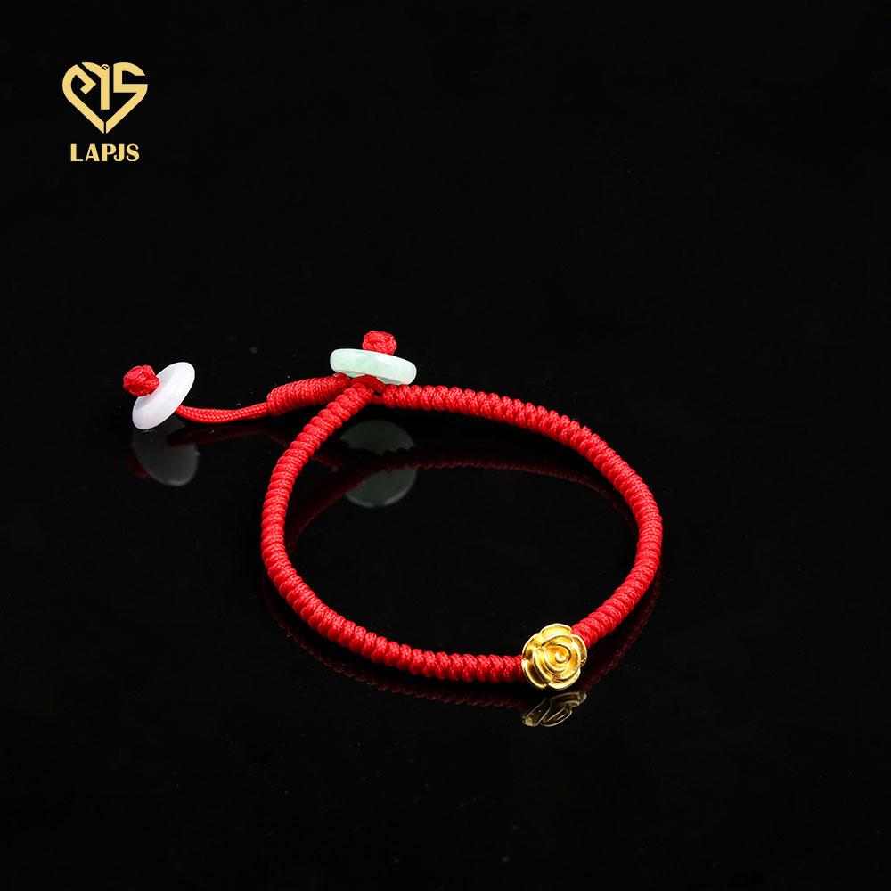Vòng tay chỉ đỏ Hoa hồng Vàng 24k HBL-0120