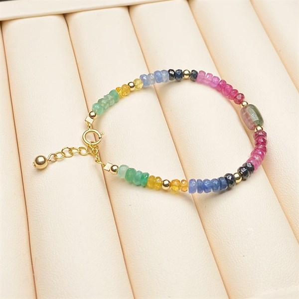 Vòng tay Ruby, Sapphire, Emerald 4mm mix charm Tourmaline SBL-30112